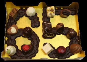 Chocolade cijfer met bonbons